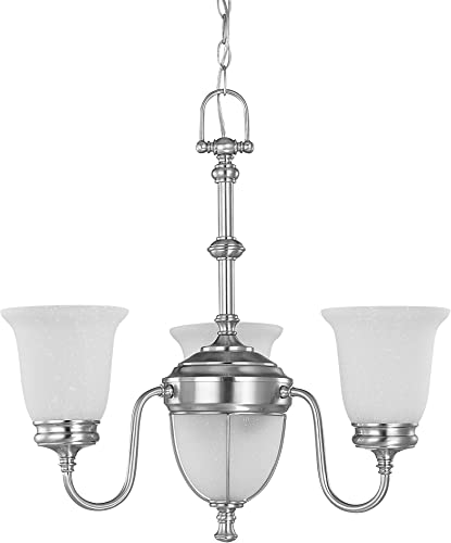 Nuvo 60 2804 3 Light Chandelier with Frosted Linen Glass Shades
