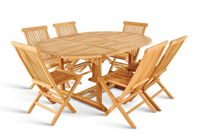 SAM 7tlg. Gartengruppe Aruba, Teak-Holz Gartenmöbel, 1 x Auszieh-Tisch ca. 180-240 x 100 cm + 6 x Hochlehner Aruba