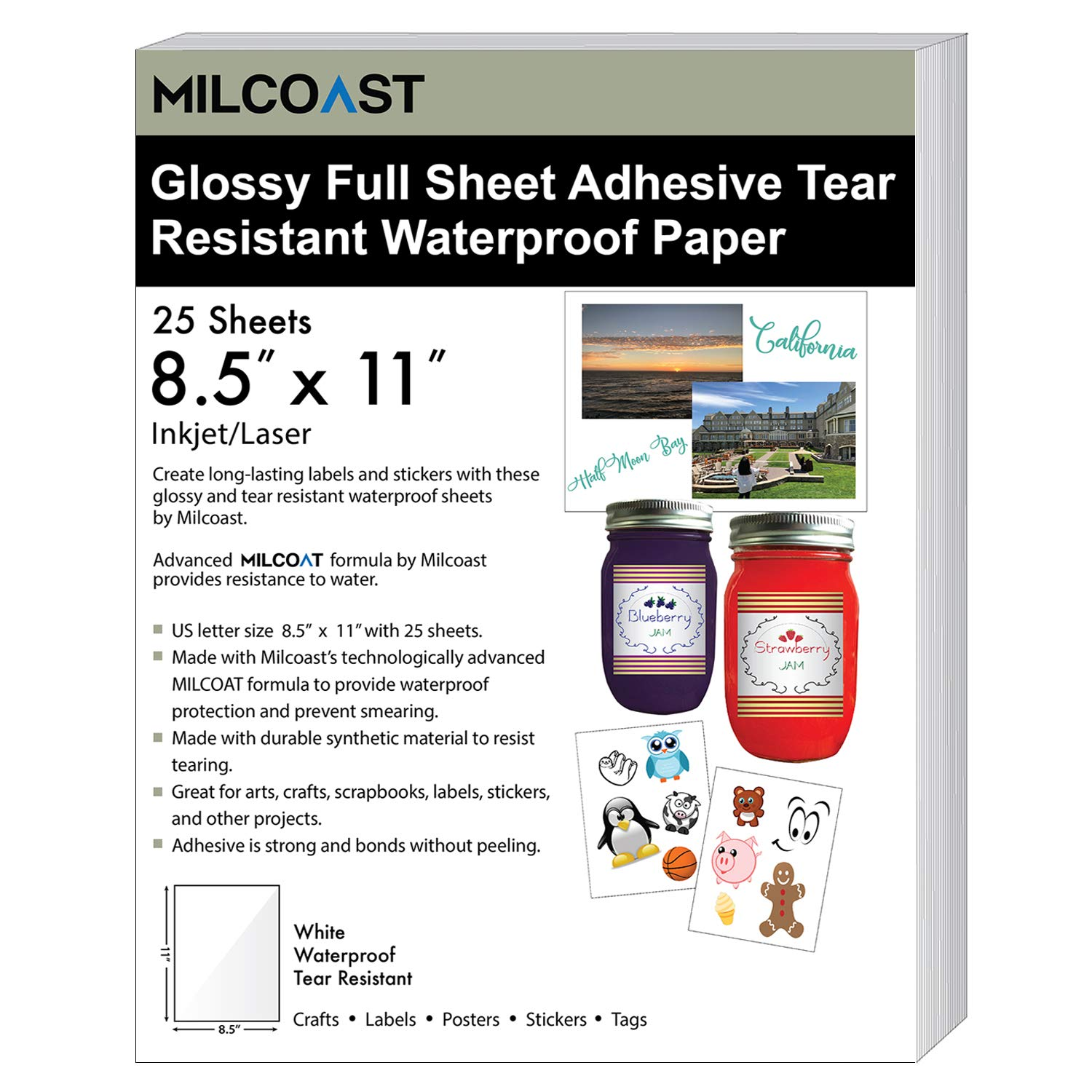 Milcoast Glossy White Full Sheet 8.5'' x 11'' Adhesive Tear Resistant Waterproof Photo Craft Paper - for Inkjet/Laser Printers - for Stickers, Labels, Scrapbooks, Bottles, Arts, Crafts (25 Sheets)
