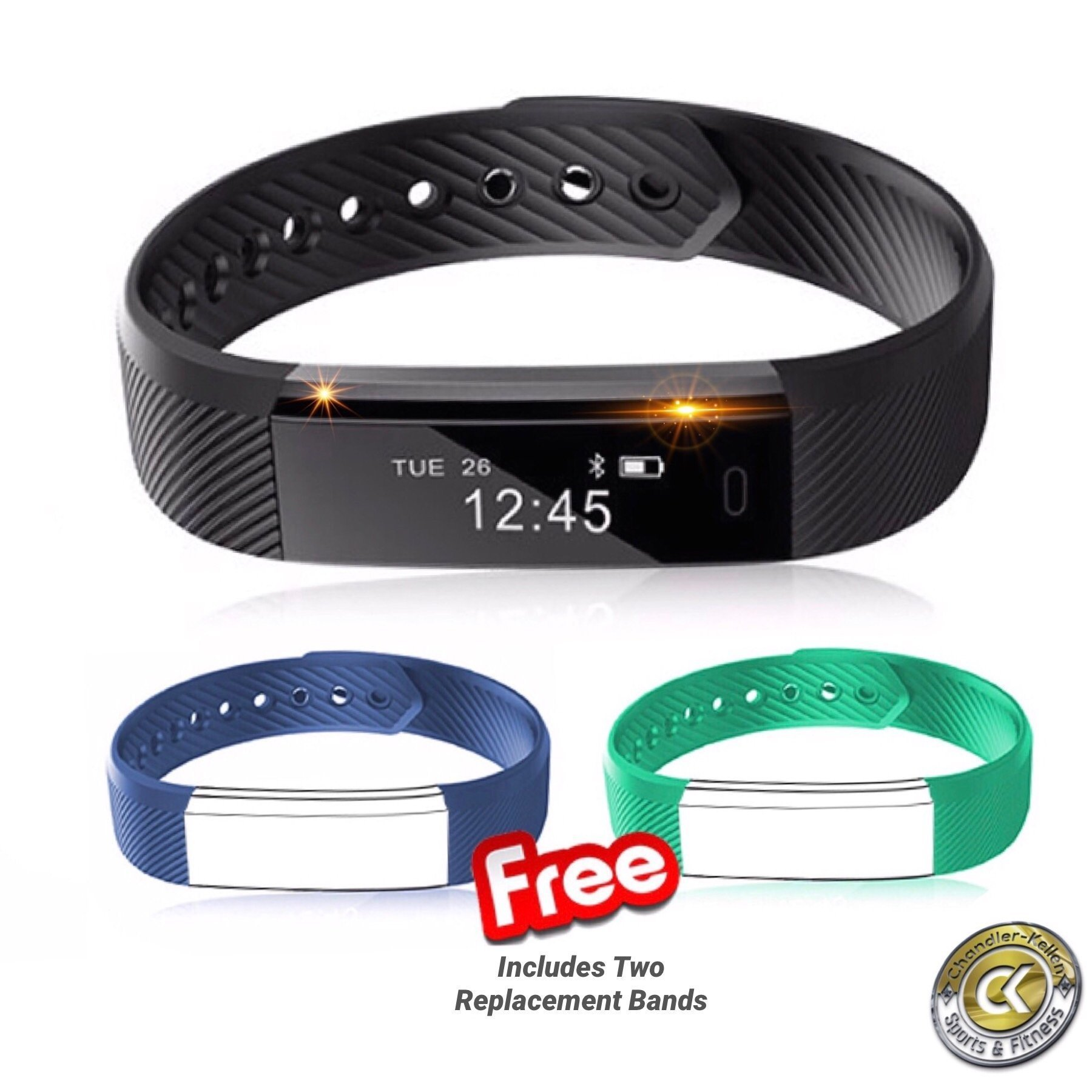 Smart Bracelet By Chandler-Kellen Sports VeryFit, Fitness Tracker Wristband w/ Pedometer, Calorie Tracker, Sleep Tracker, Alarm Clock & Water Resistant For iPhone and Android + 2 replacement bands