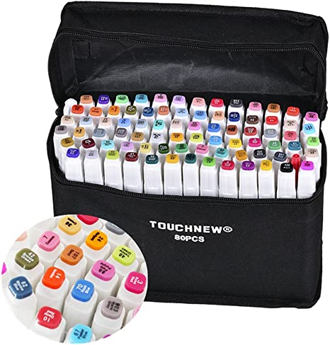 Marker Pens 30 Colors Twin Tip Markers Dual Tips Sketch Colouring Pens Highlighter Set for Painting Coloring and Underlining with Carrying Bag
