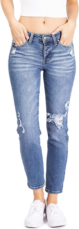 Celebrity Pink Womens Juniors High Waist Straight Leg Boyfriend Jeans