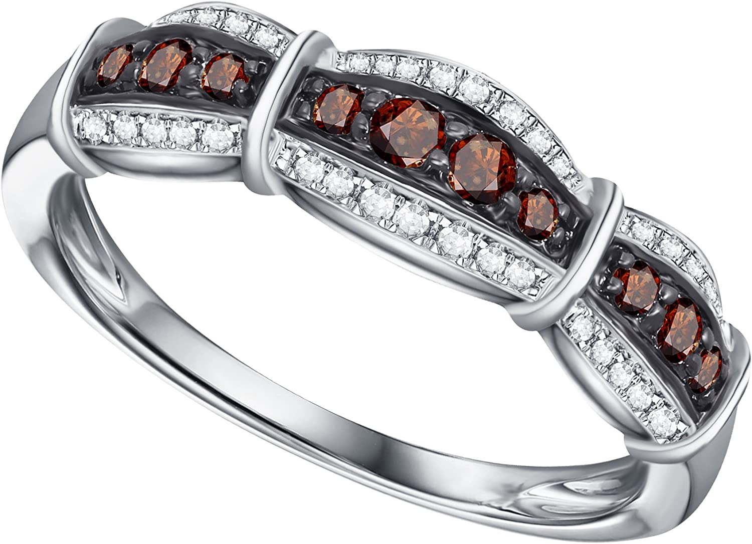 Prism Jewel 0.30Ct Round Red Diamond With Diamond Anniversary Ring
