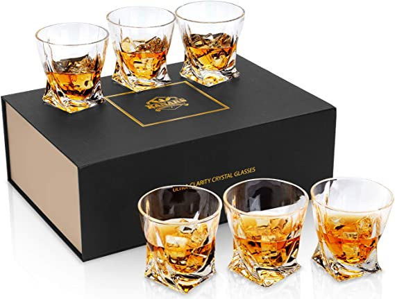 KANARS Twist Whiskey Glass for Men - Large 10 Oz Set of 6 - Premium Lead Free Crystal Tumbler for Scotch