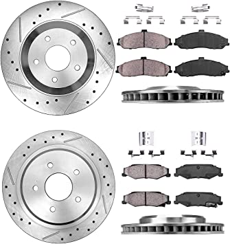 305mm Rear Drilled Slotted Brake Rotor /& Pads fit Cadillac Chevrolet Corvette