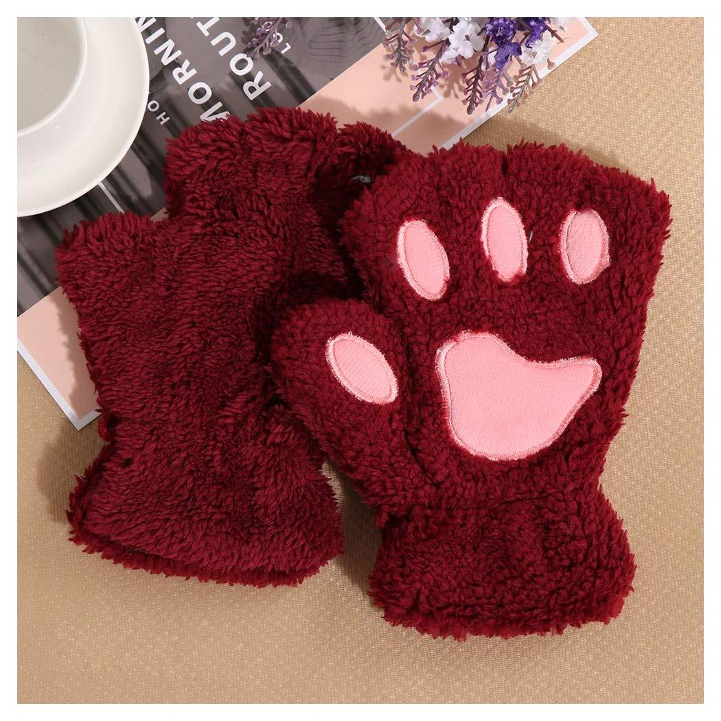 Halffle Women Cat Claw Mittens Bear Plush Paw Winter Gloves