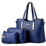 Women Pu Leather Weave Handbag Purse Bag Set 3 Pieces Tote Bag Set Shoulder Bags Big Capacity SILI