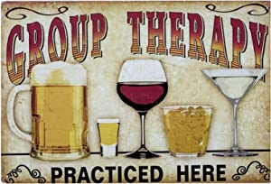 Perspective Group Therapy Practiced Here - 20x30cm Vintage Wall Art, Tin Metal Wall Decor, Bar Sign, Rustic Home Decor, Tin Wall Plaque, Funny Bar Decor