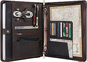 Handmade Genuine Leather Portfolio, Zippered Padfolio with 3 Ring Binder, Professional Business Organizer, Resume Folder, Notebook Organizer with Tablet Document Holder for Men, Women, Business Trip