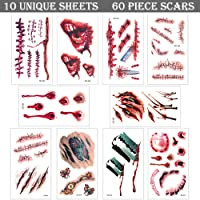 Temporay Tattoos, 10 hojas de diseño diferentes, Halloween Zombie Scars Tattoos Stickers con Fake Scab Blood Special Fx Body Makeup Props