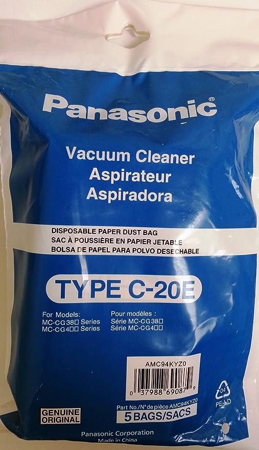 Panasonic Compact Canister MC-CG381&MC-CG467 Type C-20E Bags 5 Pk Part # AMC94KYZ0
