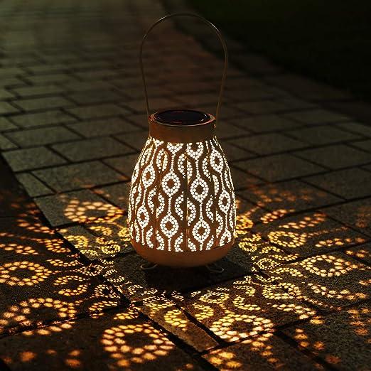 Farol Solar Exterior, Infankey Lámpara Solar Exterior, IP65 Resistente al Agua, Colgante para Jardín, Terraza, Balcón(Clase de Eficiencia Energética A+): Amazon.es: Iluminación