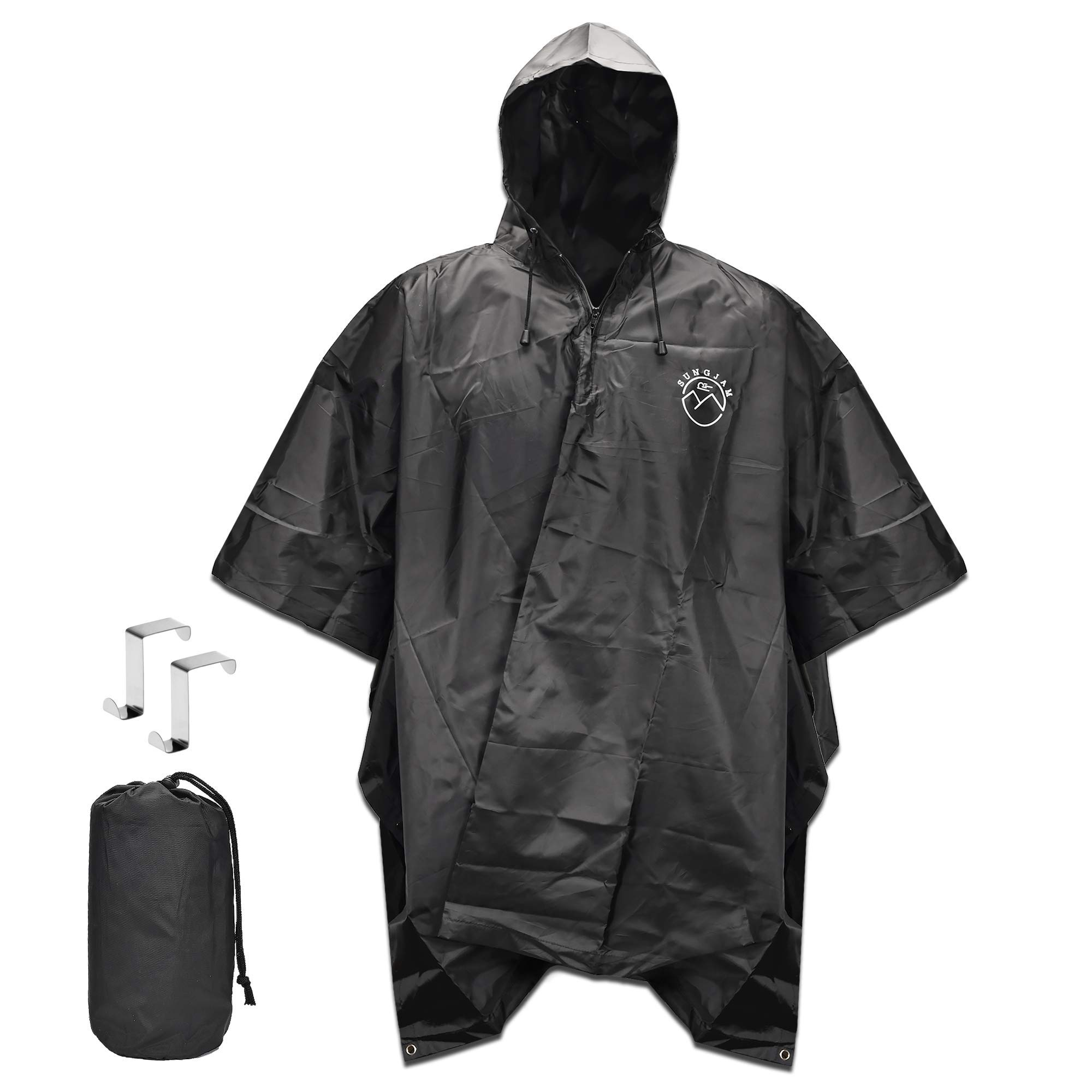 SUNGJAM Rain Poncho with Travel Pouch | Two Over Door Metal Hooks for Drying