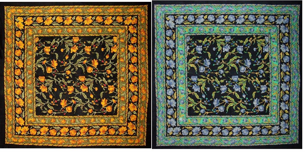 India Arts 60 X 60 inch French Floral Cotton Tablecloth, 2 Pack- Amber on Black & Blue on Black