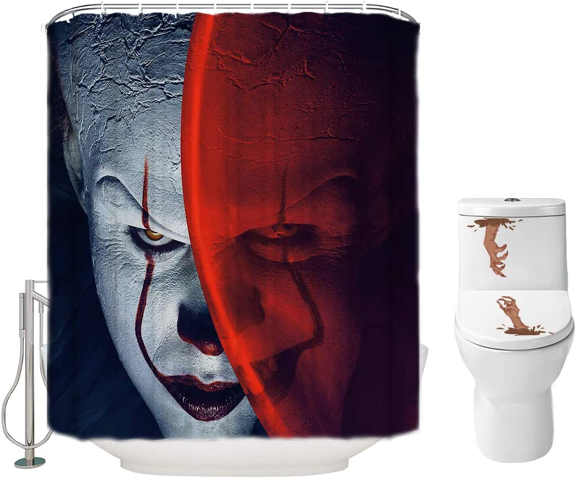 Halloween Shower Curtain Set for Bathroom- IT Pennywise The Dancing Clown Scary Killer, Horror Movie Themed Holiday Polyester Decoration with Hooks and Toilet Stickers, Christams Party Decor 72x72
