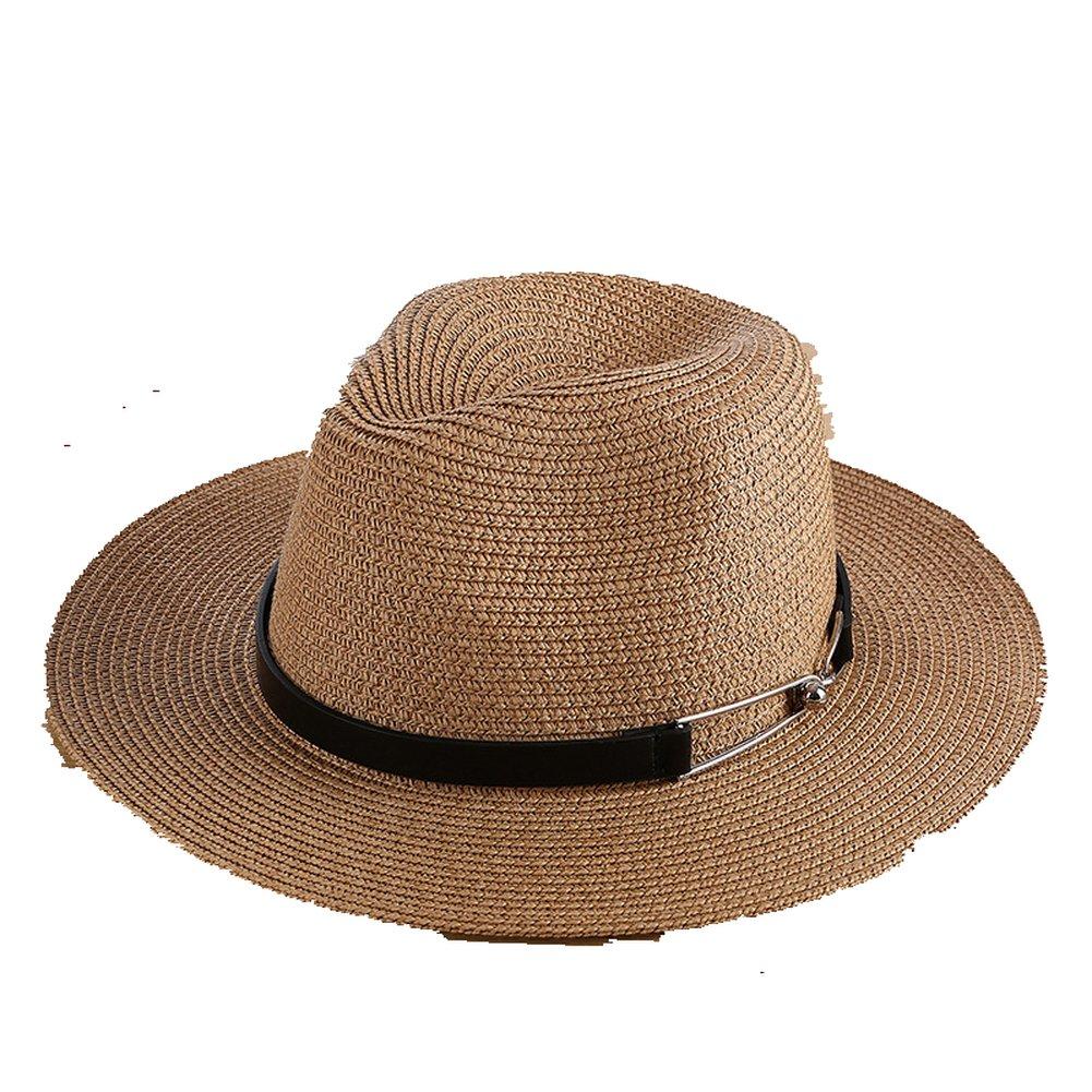 AOBRITON Sun Hat Women Men Unisex Straw Beach Panama Bucket Hat Chapeau Travel Vacation