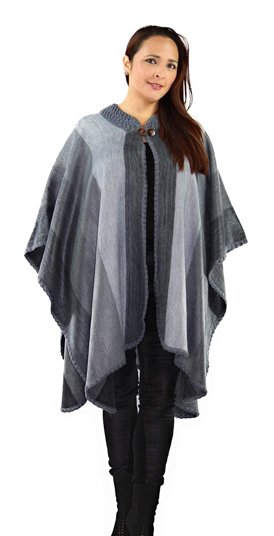 Dior Grey QUICHUA ARTISANAL Handmade Peruvian Striped Alpaca Poncho