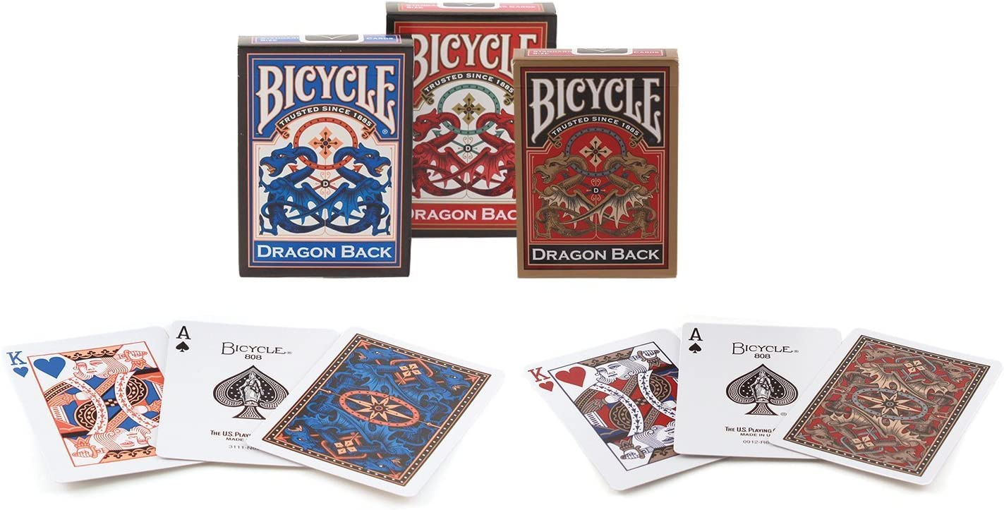 Bicycle Dragon Back Playing Cards Blue//Red//Gold Sportsman Supply Inc Pack of 3 1023826//1025004