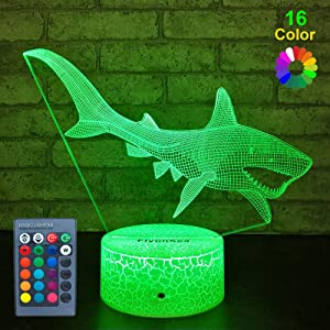 FlyonSea Baby Shark Toys Nightlight,Baby Shark Party Supplies 16 Color Changing Kids Night Light with Touch and Remote Control, Kids Shark Decor Lamp Birthday for Kids Boys Baby