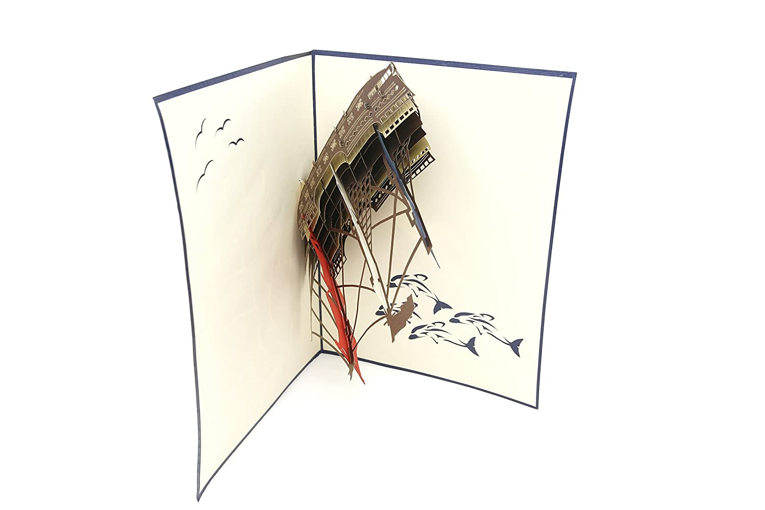 Anniversary Gift Graduation Birthday Boaters Pirates Retirement Folds Flat for Mailing Ocean Lovers PopLife Man O War Ship 3D Pop Up Greeting Card for All Occasions