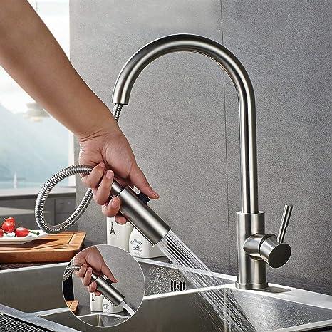 Lonheo Hochdruck Wasserhahn Küche ausziehbar 360° drehbar Küchenarmatur mit  2 Strahlarten Edelstahl Armatur Einhebelmischer Spültischarmatur ...