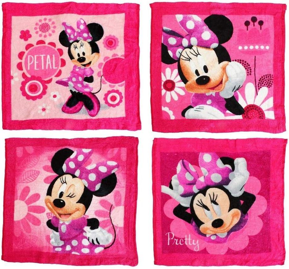 MINNIE MOUSE GIRLS CHARACTER MAGIC FACE TOWEL CLOTH PACK OF 4 TOWELS GIFT SET GOOD QUA DISNEY