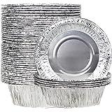 Goodlucky365 50 12.7cm Platos Desechables de Aluminio Para la Olla de Tartaleta y Empanada, la Hojuela de Olla Desechables, la Olla de Barbacoa Desechable y Los Platos de Barbacoa Desechables