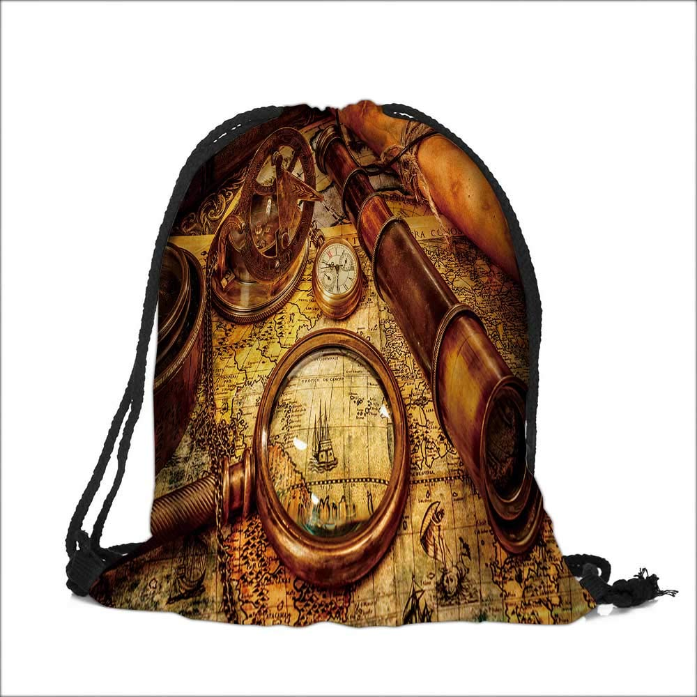 Draw pocket Polyester Backpack Vintage magnifying glass,compass,telescope and a pocket watch lying on an map. with Large Pocket and Draw Strings 14''W x 17.5''H