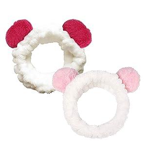 Set of 2, The Elixir Beauty Spa Headband Hair Wrap Headband Hair Towel Non-Slip Stretchable Washable Makeup Headband for Face Wash Facial Treatment