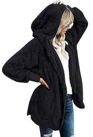 Womens Fuzzy Jacket Sherpa Coat Open Front Hooded Cardigan Outwear with  Pockets (Black1 S) 3ef07d469