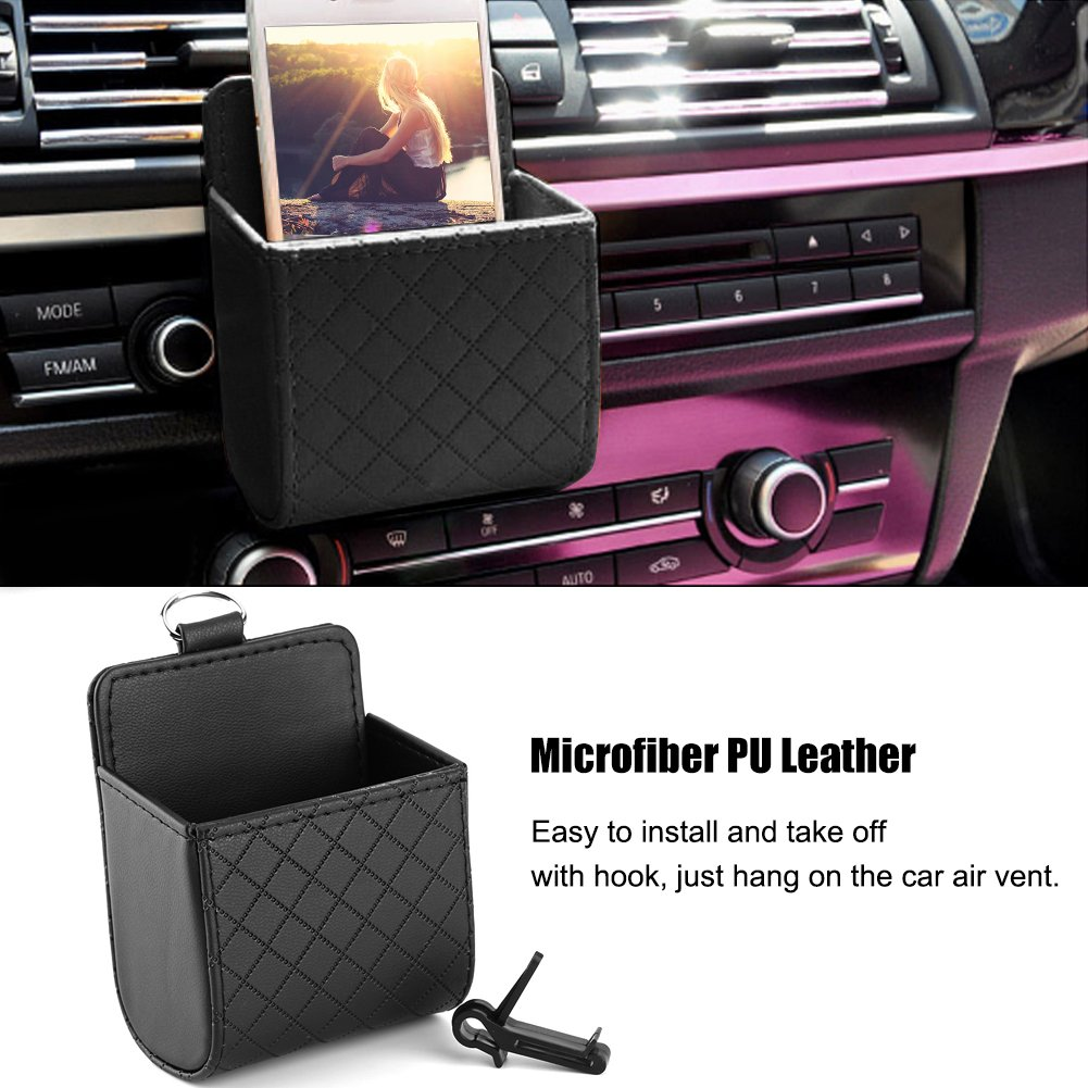 DRU Black PU Leather Storage Box Universal In-car Organizer Pocket Pouch Bag Case for Air Vent Mount Outlet Door Seat Back Car Interior Tidy Holder for Mobile Cell Phone Charger Sunglasses Card Pen