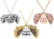 You are My Sunshine Chain Necklace Sunflower Locket Necklace Engraved Necklace Gift for Women Girls Children's Jewelry Fashio