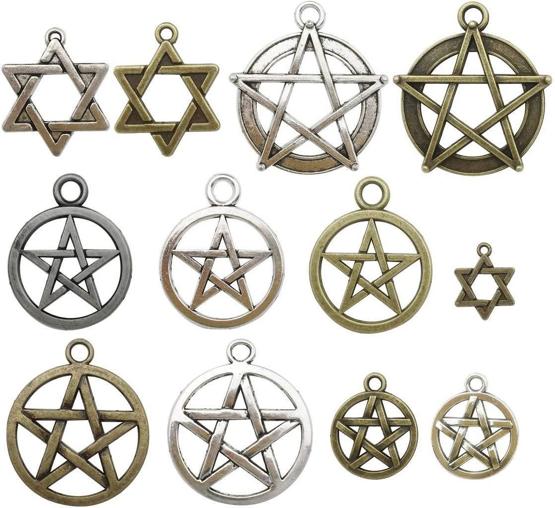 20 Silver Tibetan Metal Charms,Pentagram,Pendant Necklace Jewellery making