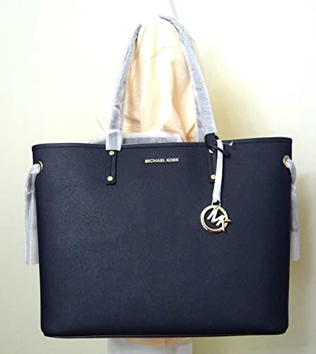 f71c5feeae9 Amazon.com  Michael Kors Jet Set Travel Large Drawstring Navy Leather Tote  With Pouch  Shoes