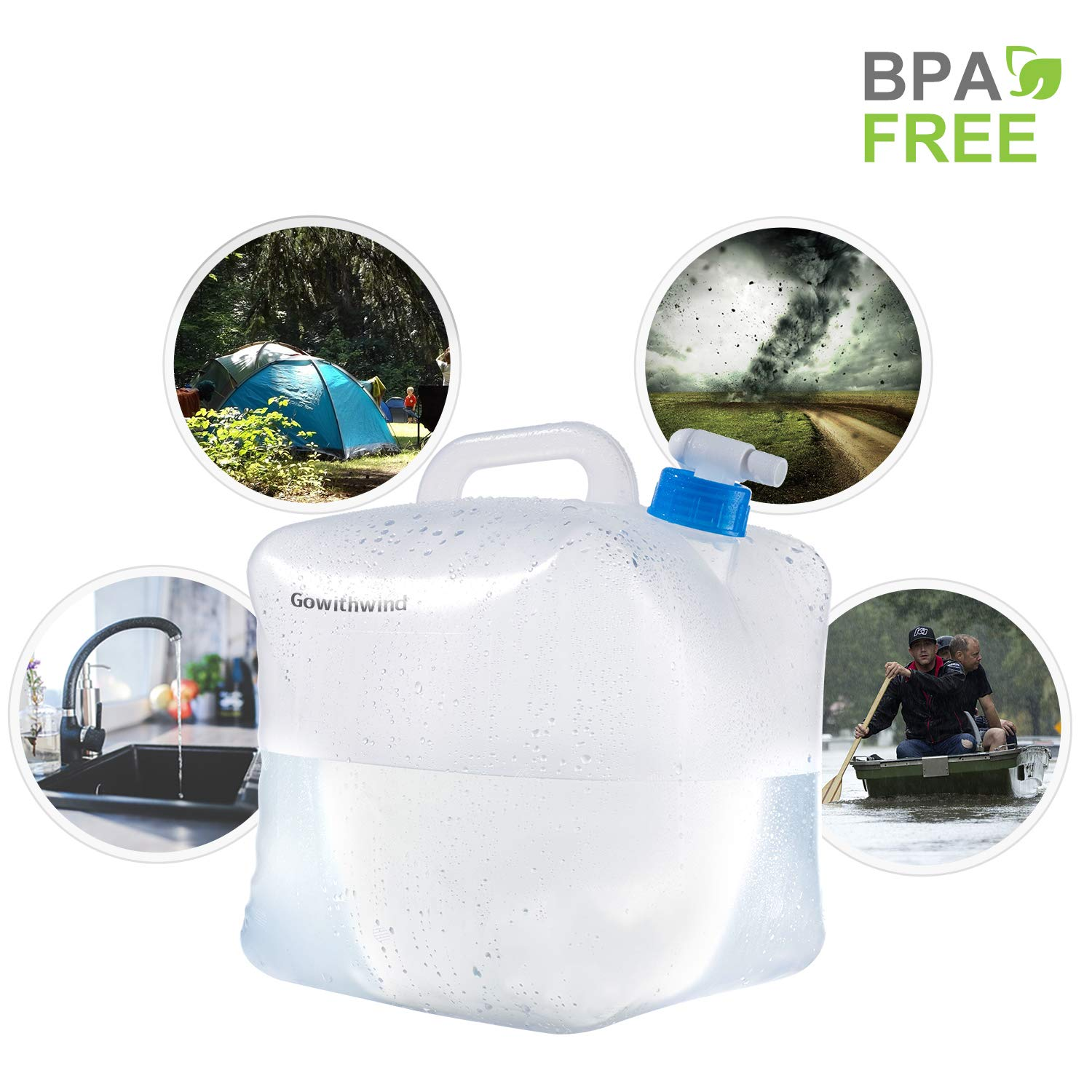 Gowithwind Collapsible Water Container with Spigot,FDA BPA Free Portable Water Carrier,Foldable Water Storage Jug for Outdoor Camping Hiking and Emergency Hurricane Flood Earthquake 1.3//2.6//5.3Gallon