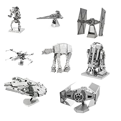 Metal Earth 3D Model Kits - Star Wars Complete Set of 8 - X-Wing - Destroyer Droid - Imperial Star Destroyer - TIE Fighter - R2-D2 - AT-AT - Millenium Falcon - Darth Vader's TIE Fighter: Toys & Games