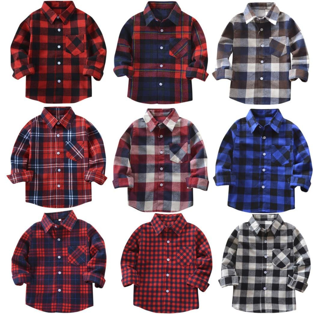 AOJIAN Kids Boys Girls Long Sleeve Cotton Plaid T Shirt Tops Blouse Outfits 2 to 8 Years Old