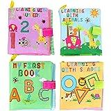 TOYMYTOY Libro Blando de Bebé Aprendizaje y Educativo - 4 Piezas