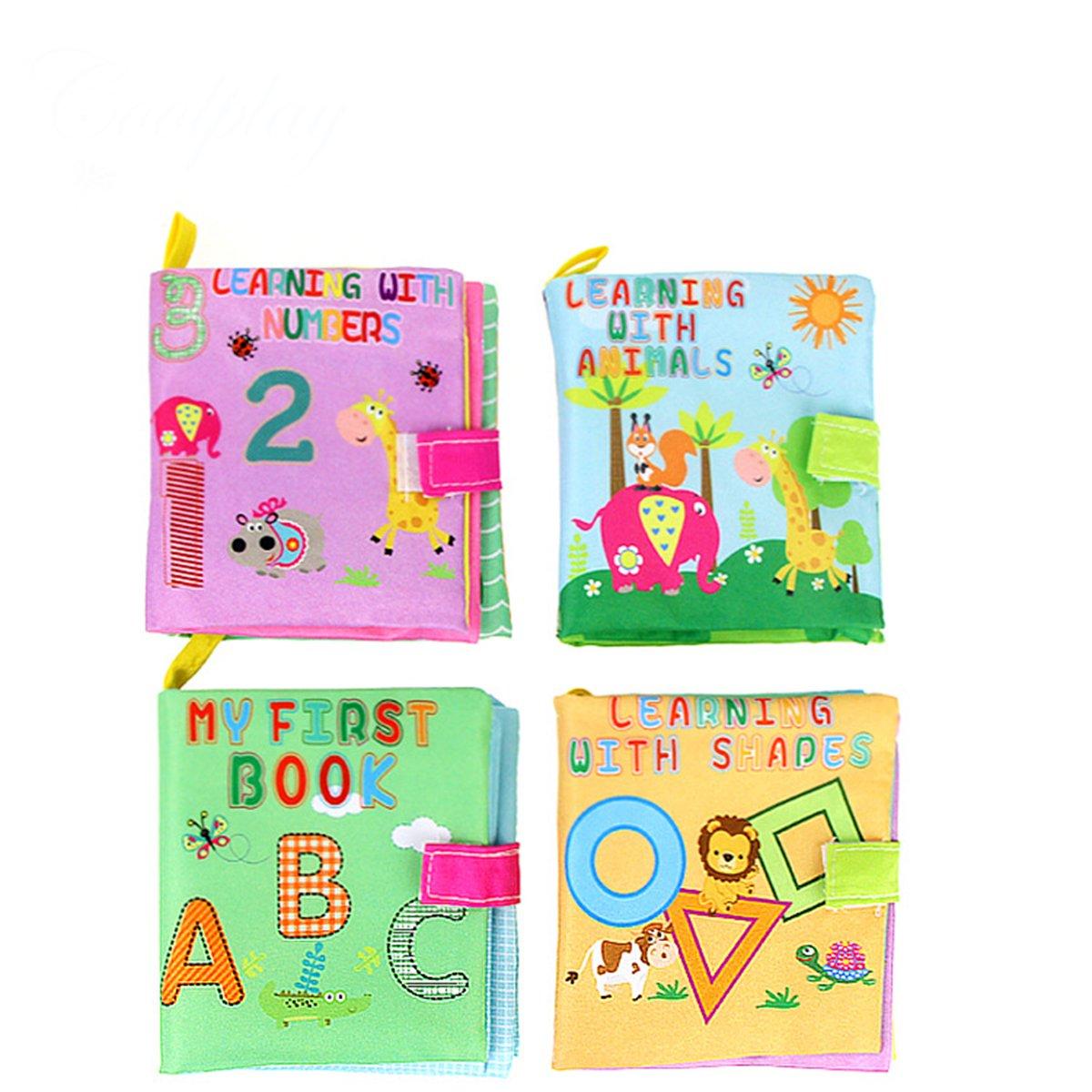 TOYMYTOY Libro giocattolo del bambino Panno Morbido Libro Bambino Imparare Intelligenza Cognize Libro - 4 Pezzi