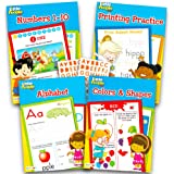 Fisher Price Preschool Workbooks Set -- 4 Fisher-Price Little People Pre-K Learning Workbooks for Preschoolers and Alphabet Stickers (ABCs, Counting, Colors, Shapes)