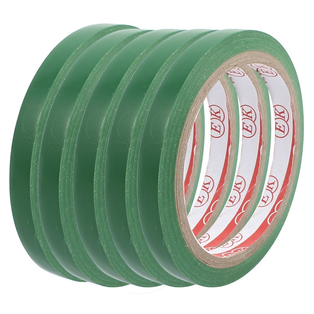 uxcell 5pcs 1cm Width Safety Caution Warning Sticker Adhesive Tape 17M Length Green