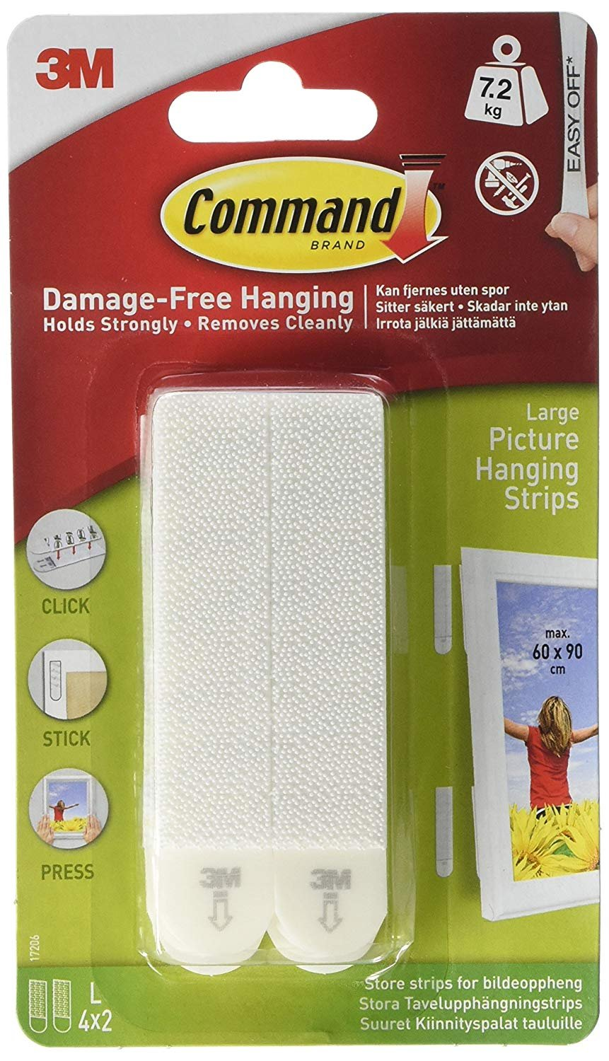 Command 3M Picture & Frame Hanging Strips Sets Large Size White Damage-Free, 60-Pair