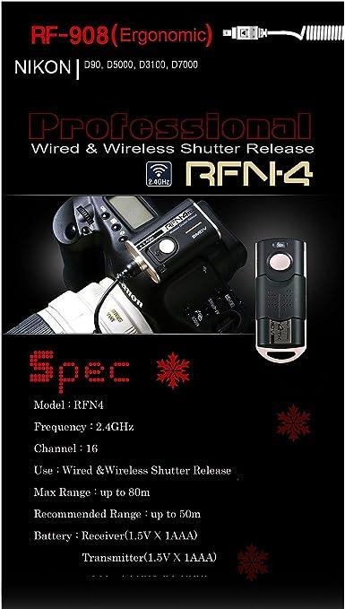 SMDV Wired/&Wireless Shutter Release RF908 for Nikon MC-DC2 D90//D600//D610//D7100//DF