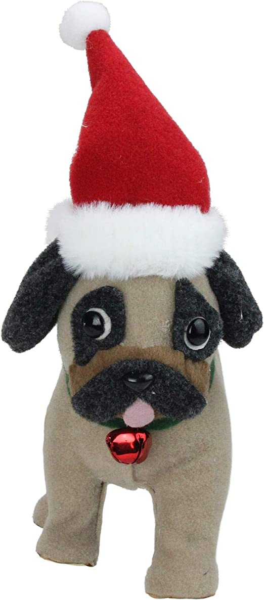 Large Pug Dog with Top Hat /& Scarf Christmas Figurine Decor Red /& Green Statue