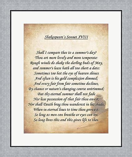Amazon.com: Shakespeare\'s Sonnet 18 Framed Art Print Wall Picture ...