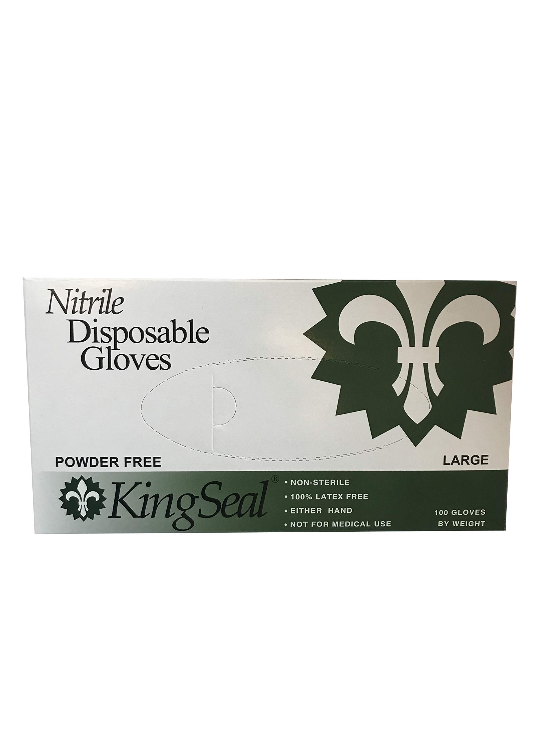 KingSeal Nitrile Disposable Gloves, Powder-Free, Latex-Free, Blue, 4 mil, Size Large - 4 boxes of 100 per box (400pcs total)