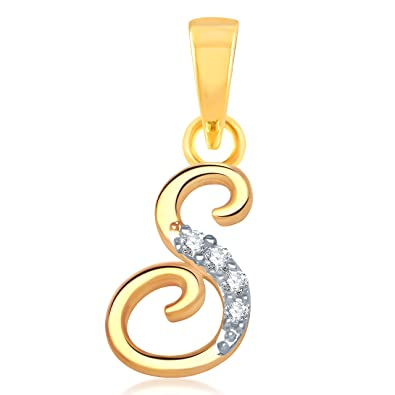 Alphabet Collection Initial Letter U0026quot;Su0026quot;Gold And Rhodium Plated  Alloy Pendant For Men