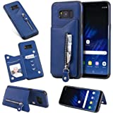 Samsung Galaxy S8 Plus Card Holder Case, Abtory Folio Leather Zipper Case Cover Shockproof Case with Credit Card Slot, Durabl