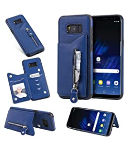 Samsung Galaxy S8 Plus Card Holder Case, Abtory Folio Leather Zipper Case Cover Shockproof Case with Credit Card Slot, Durable Protective Case for Samsung Galaxy S8 Plus Blue