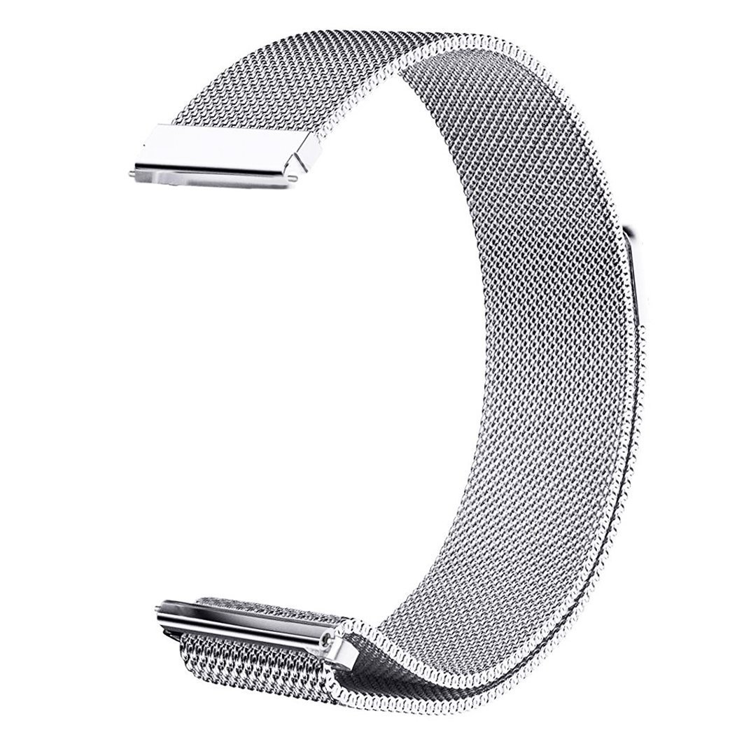 LDFAS Vivoactive 3 Band, 20mm Quick Release Milanese Stainless Steel Metal Watch Strap with Magnetic Closure Clasp for Garmin Vivoactive 3 / Forerunner 645 Music/Vivomove HR Smartwatch, Silver